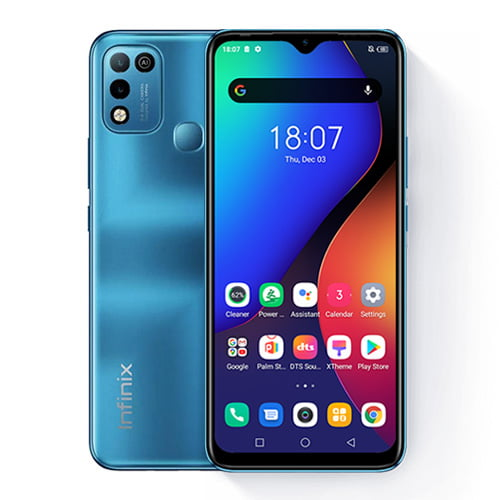 Infinix Hot 10 Front and blue back image collage