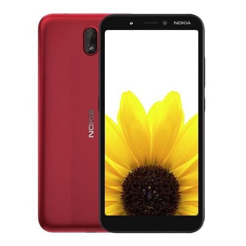 Nokia C1 front and Red Back