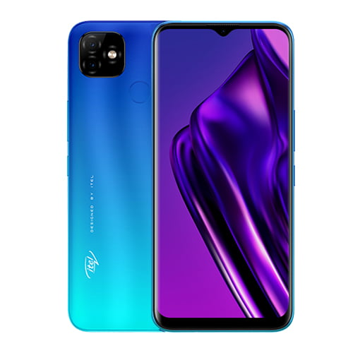 iTel P36 Pro LTE front and blue back collage